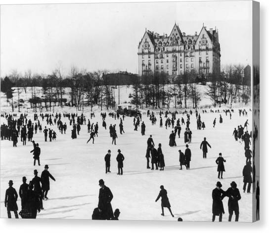 Skating In Central Park, Nyc Canvas Print by Fotosearch