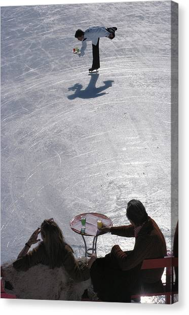 Skating Waiter Canvas Print by Slim Aarons