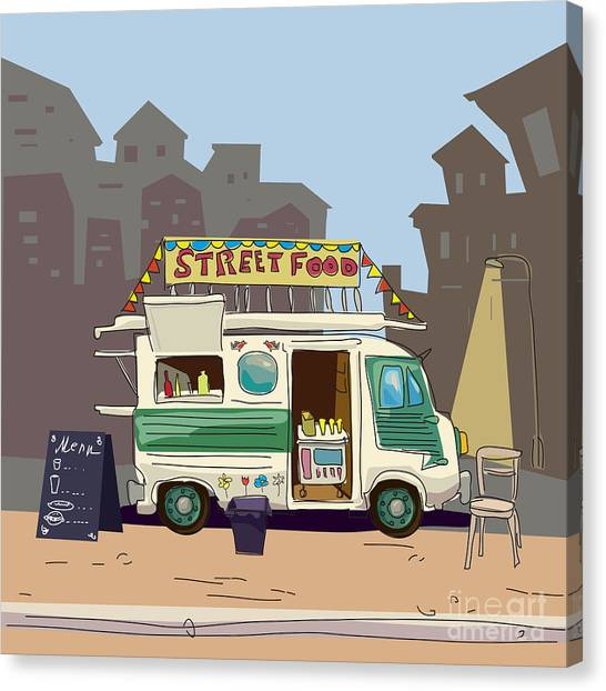 Sketch Car Street Food, City, Cartoon Canvas Print by Valeri Hadeev