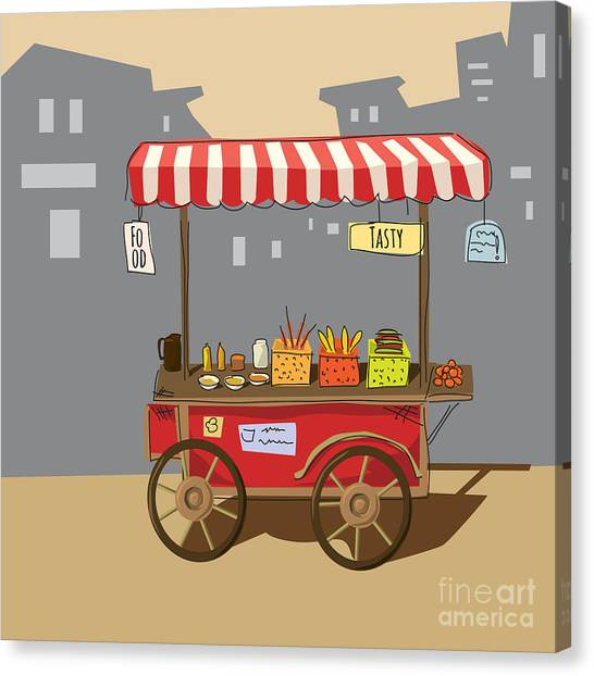 Sketch Of Street Food Carts, Cartoon Canvas Print by Valeri Hadeev
