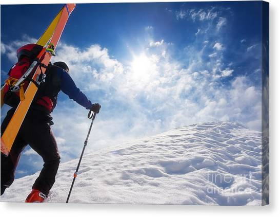 Ice Climbing Canvas Print - Ski Mountaineer Walking Up Along A by Roberto Caucino