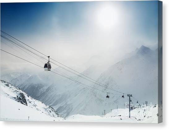 Ski Resort In The Winter Mountains Canvas Print by Olga Gavrilova