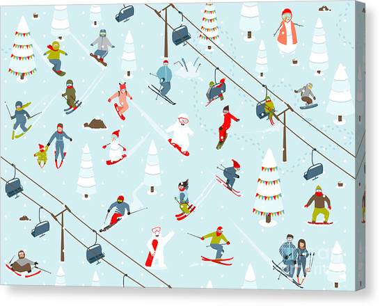 Winter Fun Canvas Print - Ski Resort Seamless Pattern With by Popmarleo