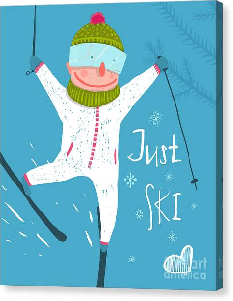 Winter Fun Canvas Print - Skier Funny Free Rider Jump Fun Poster by Popmarleo