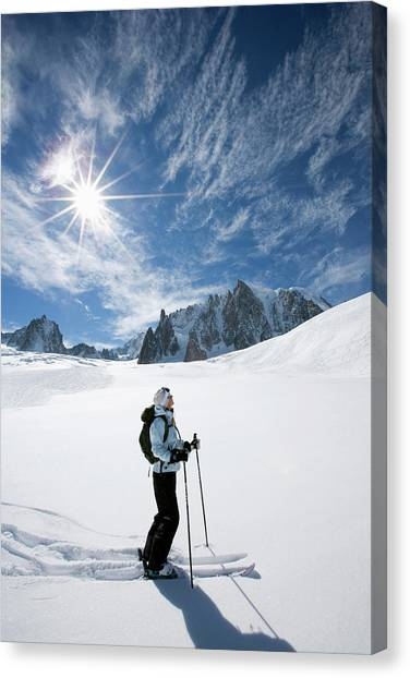Skier Going Downhill Chamonix France Canvas Print