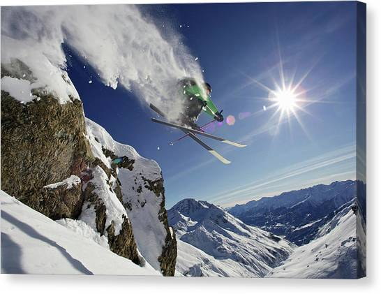 Skier In Midair On Snowy Mountain Canvas Print