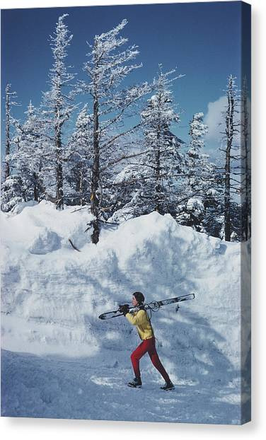 Skier In Vermont Canvas Print by Slim Aarons