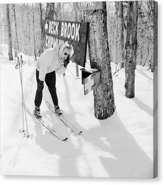 Skiers Telephone Canvas Print