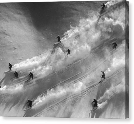Skiers To The Rescue Canvas Print