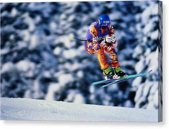 Skiing, Downhill Event, Competitor Canvas Print