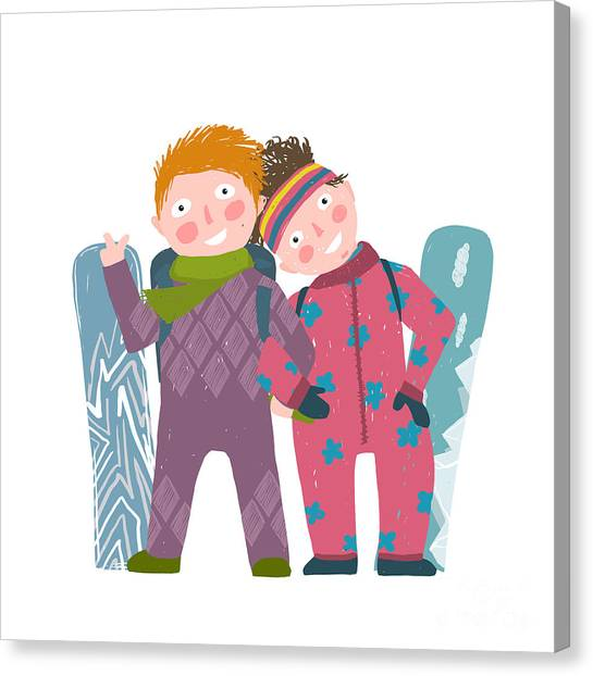 Winter Fun Canvas Print - Skiing Sport Child Girl And Boy In by Popmarleo