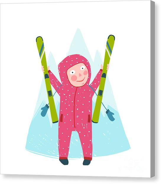 Winter Fun Canvas Print - Skiing Sport Child Girl In Winter by Popmarleo