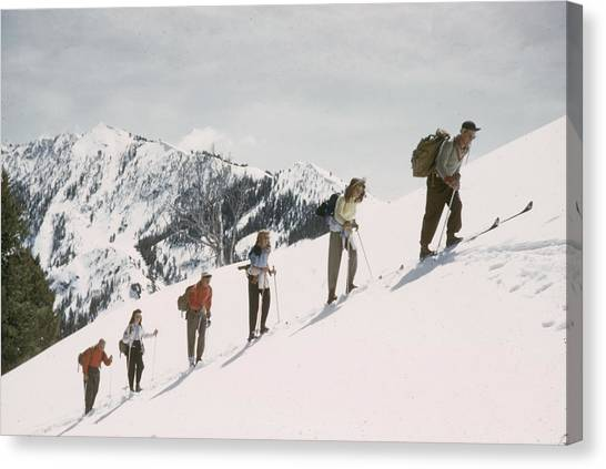 Skiing Uphill Canvas Print