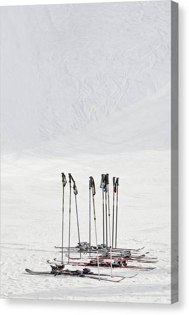 Skis And Ski Poles In Soelden, Tyrol Canvas Print