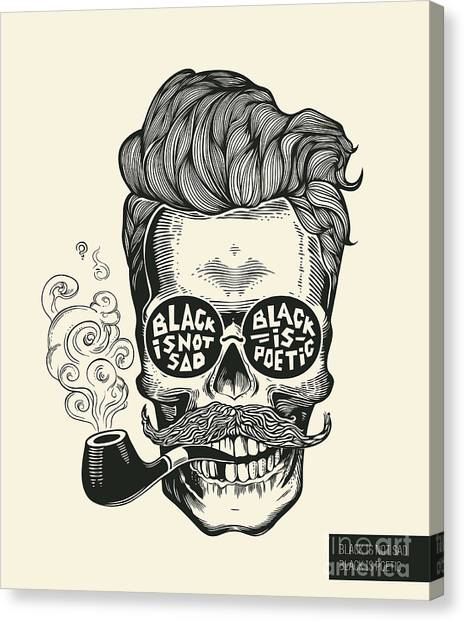 Engraving Canvas Print - Skull. Hipster Skull Silhouette With by Foxyimage