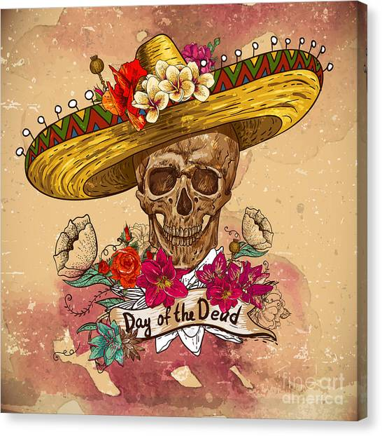 Mexico Canvas Print - Skull In Sombrero With Flowers Day Of by Depiano