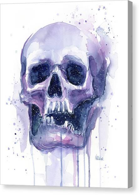 Celestial Canvas Print - Skull In Space by Olga Shvartsur