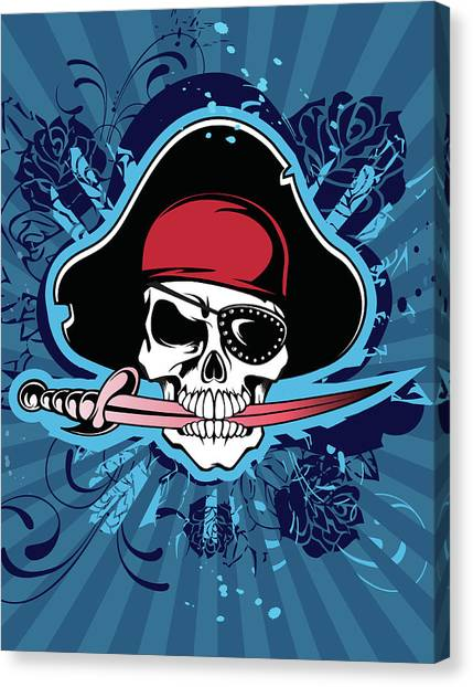Skull With Pirates Hat, Eyepatch And Canvas Print by New Vision Technologies Inc