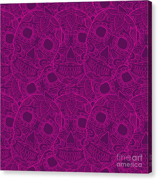 Mexico Canvas Print - Skulls Seamless Pattern by Lunarus