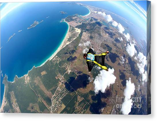 Skydive Wing Suit Over Brazilian Beach Canvas Print by Rick Neves