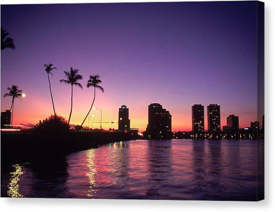 Skyline And Sunset, West Palm Beach, Fl Canvas Print