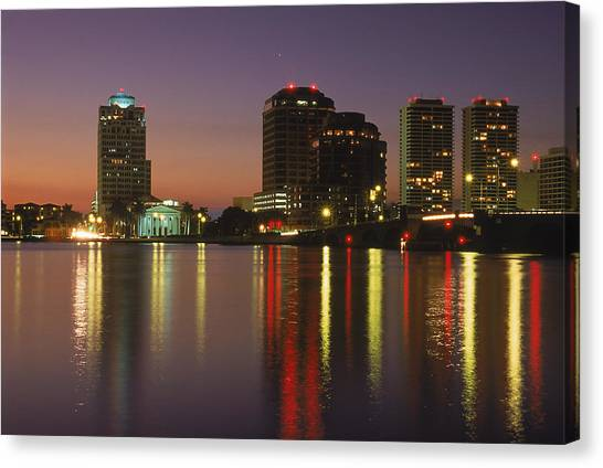 Skyline And Water, West Palm Beach, Fl Canvas Print