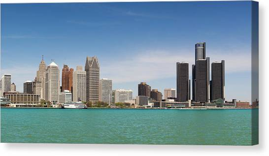 Skyline Of Detroit By Day Canvas Print