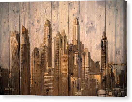 Skyline Of Dubai, Uae On Wood Canvas Print