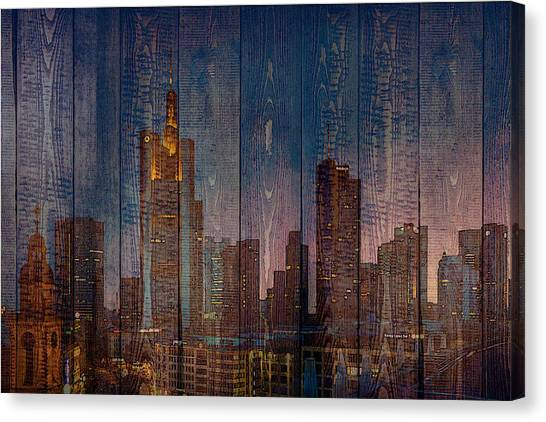 Skyline Of Frankfurt, Germany On Wood Canvas Print
