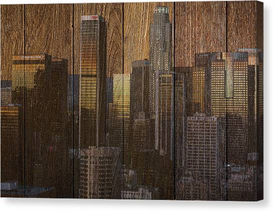 Skyline Of Los Angeles, Usa On Wood Canvas Print