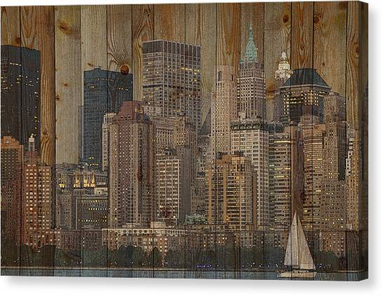 Skyline Of New York, Usa On Wood Canvas Print