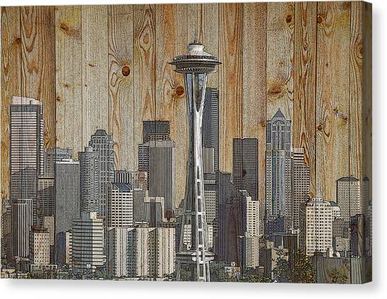 Skyline Of Seattle, Usa On Wood Canvas Print
