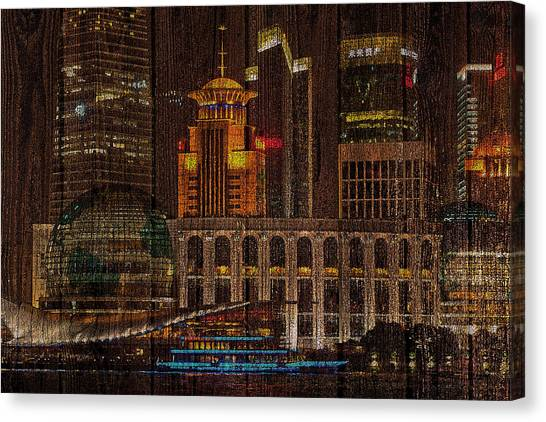 Skyline Of Shanghai, China On Wood Canvas Print