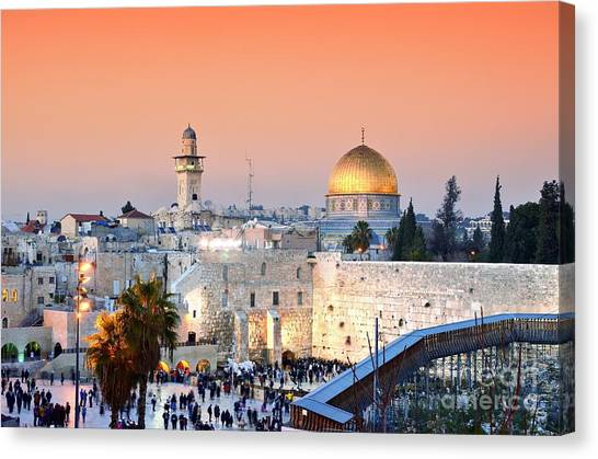 Jerusalem Canvas Print - Skyline Of The Old City At He Western by Esb Professional