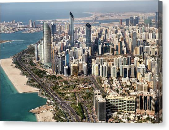 Skyscrapers And Coastline In Abu Dhabi Canvas Print by Extreme-photographer
