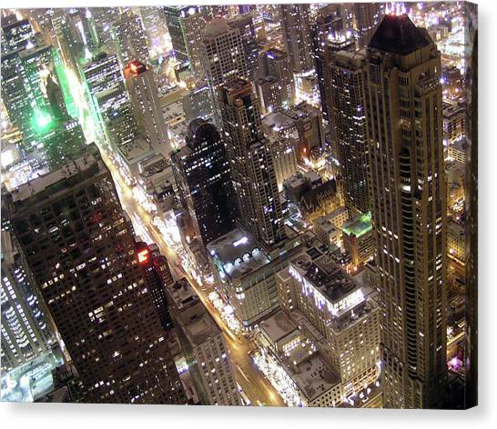 Skyscrapers Illuminated At Night Canvas Print