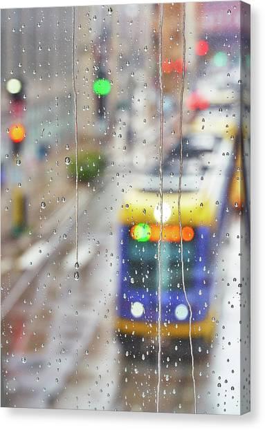 Light Rail Canvas Print - Skyway In The Rain  4 by Jim Hughes