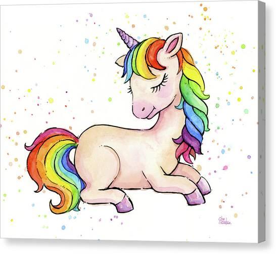 Unicorns Canvas Print - Sleeping Baby Rainbow Unicorn by Olga Shvartsur