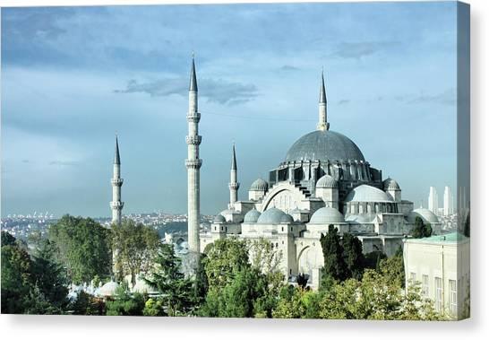 Suleymaniye Canvas Print - Süleymaniye Mosque by Esmalale
