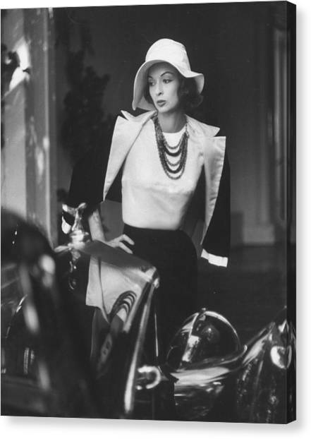 Slouch Hat In Garbo Tradition Made Of Wh Canvas Print by Gordon Parks