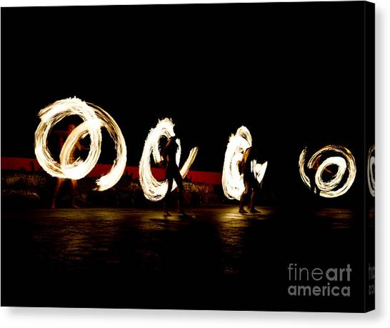 Slow Shutter Speed Of Fire Show Canvas Print by The Sun Photo