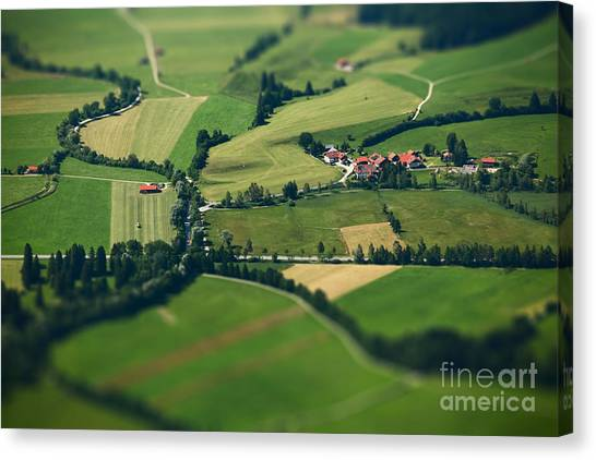 Countryside Canvas Print - Small Bavarian Village In A Fields by Dudarev Mikhail