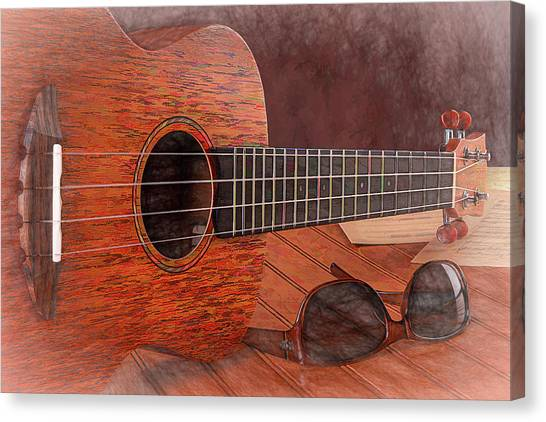 Sheet Music Canvas Print - Small Guitar And Shades by Tom Mc Nemar