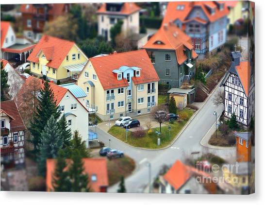 Urban Life Canvas Print - Small Town From A Birds Perspective by Bildagentur Zoonar Gmbh