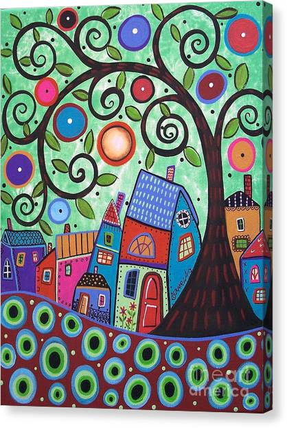 Acrylic On Canvas Print - Small Village 1 by Karla Gerard