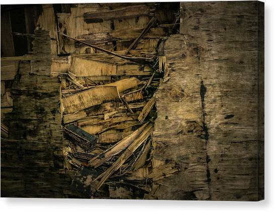 Canvas Print featuring the photograph Smashed Wooden Wall by Juan Contreras