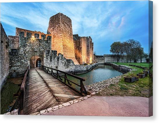 Canvas Print featuring the photograph Smederevo Fortress Gate And Bridge by Milan Ljubisavljevic