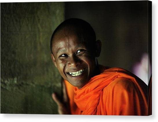 Smiling Buddhist Monk At Angkor Wat Canvas Print by Timothy Allen