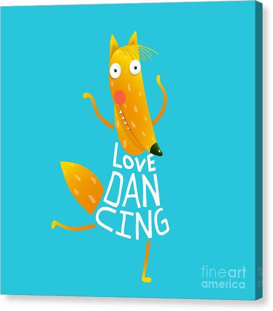 Sly Canvas Print - Smiling Orange Fox In Blue Dress by Popmarleo