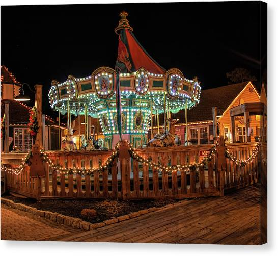 Canvas Print featuring the photograph Smithville Carousel At Night by Kristia Adams